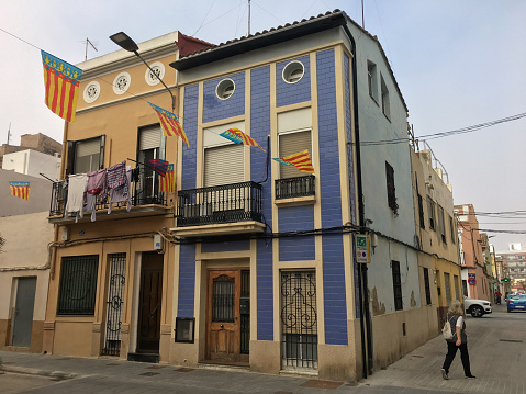 Street and building in El Cabanyal district, Valencia, Spain