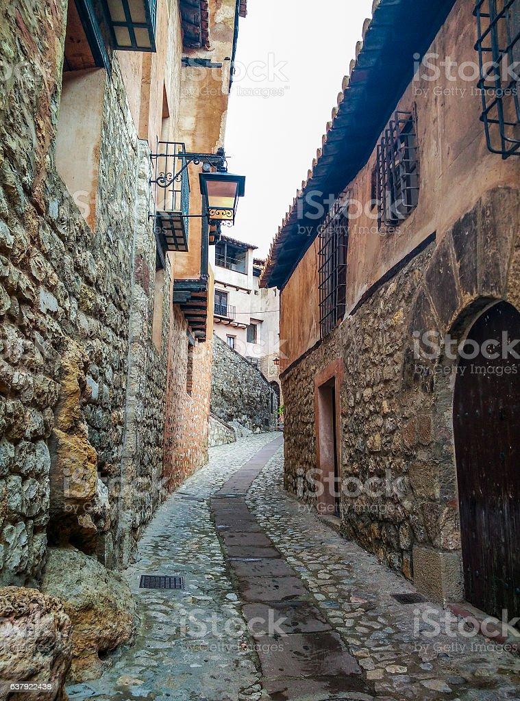 Street and buildings in Albarracin stock photo