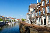 Medieval buildings along a canal in Middelburg, Zeeland, Netherlands.