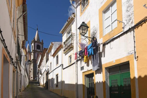 street and cathedral in portalegre, alentejo region, portugal - portalegre imagens e fotografias de stock