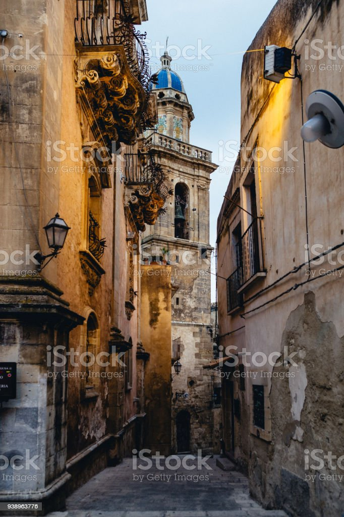 Street and Church of Ragusa stock photo