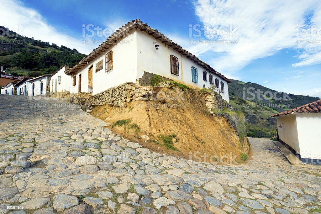 Street and houses in Los Nevados, Venezuela royalty-free stock photo
