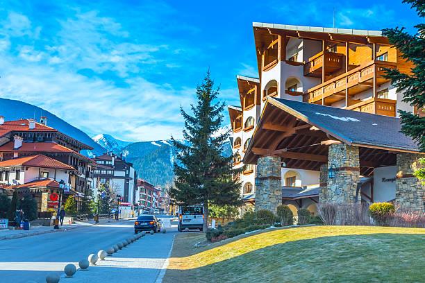 Street and mountain view in Bansko, Bulgaria stock photo
