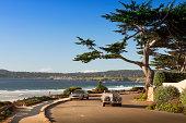 Road way by the Pacific Ocean coastline in Carmel California near Monterey