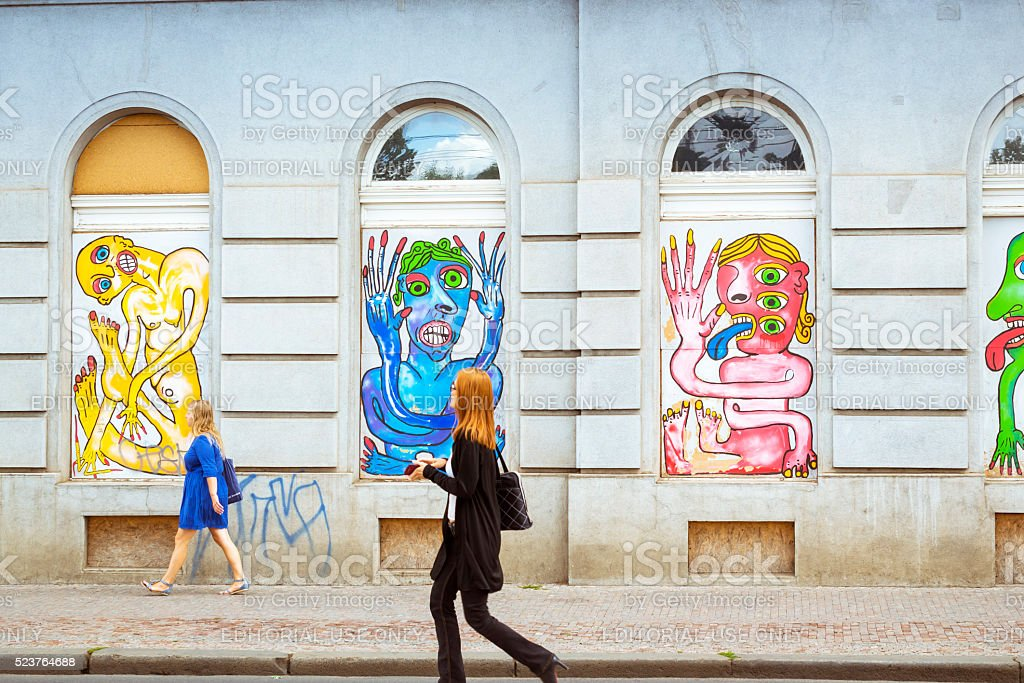 Street art - colorful images of freaks, monsters, aliens stock photo