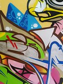 Detail of a colorful wall graffiti