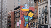 Freshly painted mural in the 14th street, Manhattan, New York