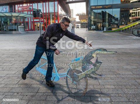 istock Street art showing optical illusion 509866650