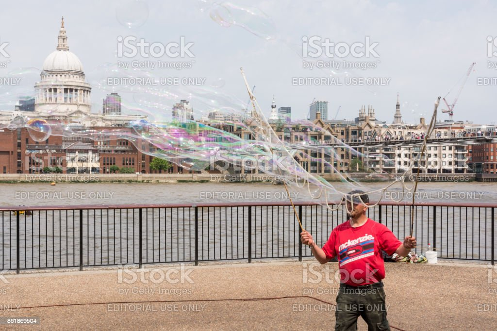 Street artist in London stock photo