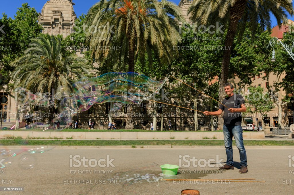 street artists on the Passeig de Lluís Companys stock photo