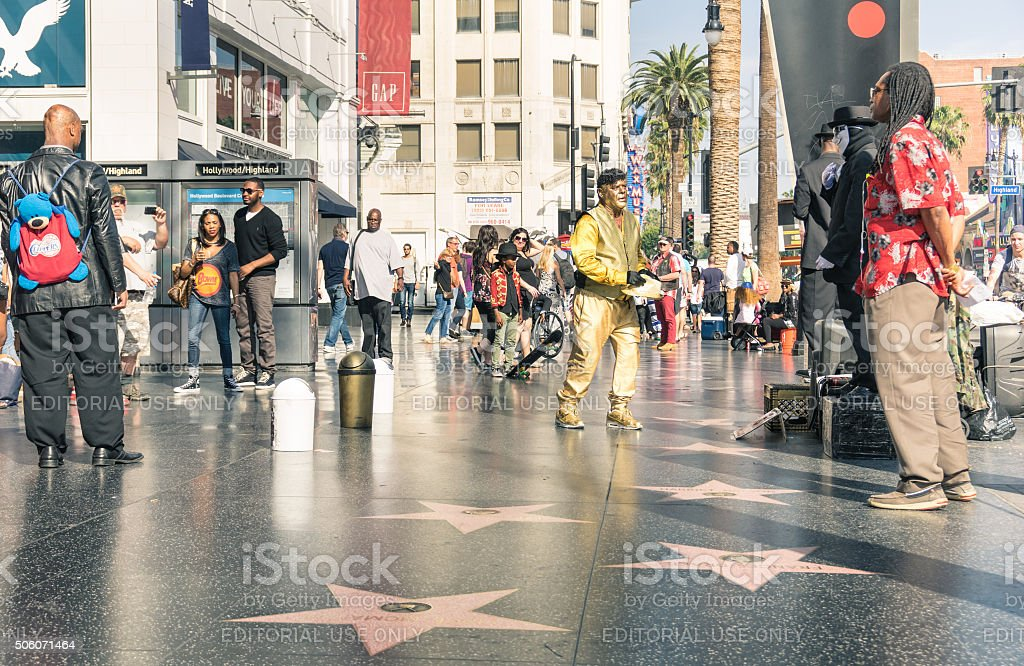 Street artists on the Walk of Fame in Hollywood stock photo