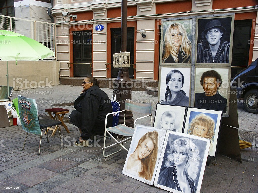 Street Artists selling Portraits of Famous People in Moscow stock photo