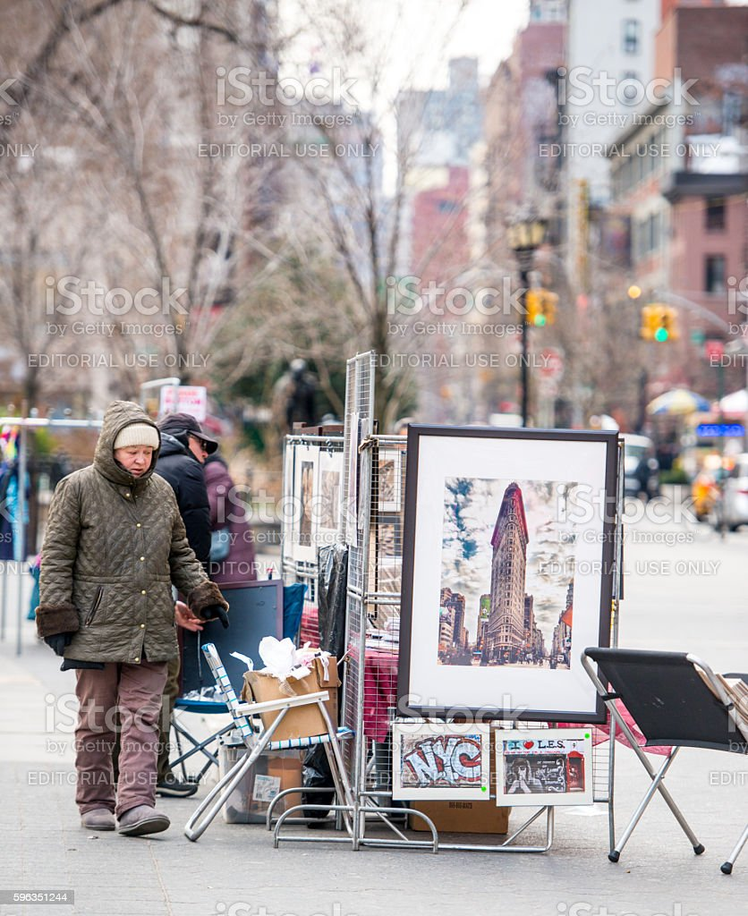 Street artists selling their paintings on Union Square, NYC royalty-free stock photo