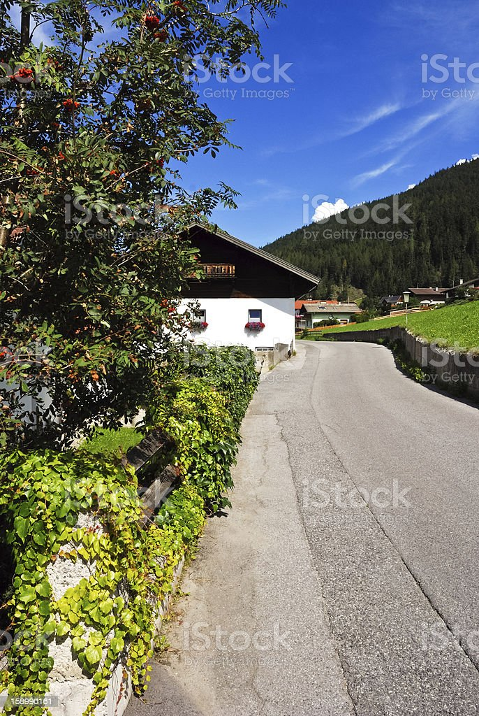 Street at a small village stock photo