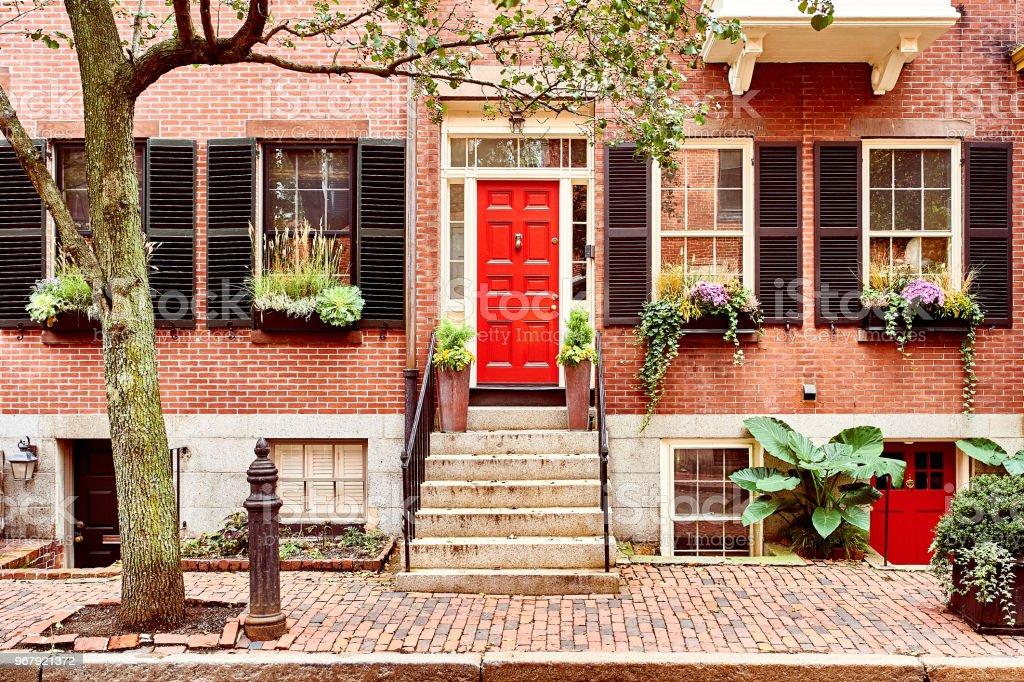 Street at Beacon Hill neighborhood, Boston stock photo