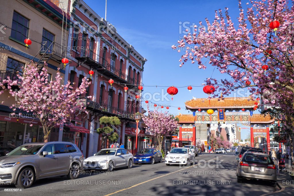 Street at Chinatown, Victoria, BC, Canada foto stock royalty-free