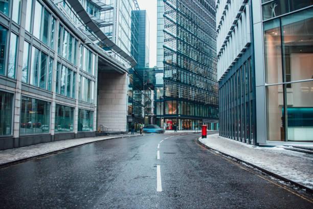 Street at futuristic office buildings area stock photo