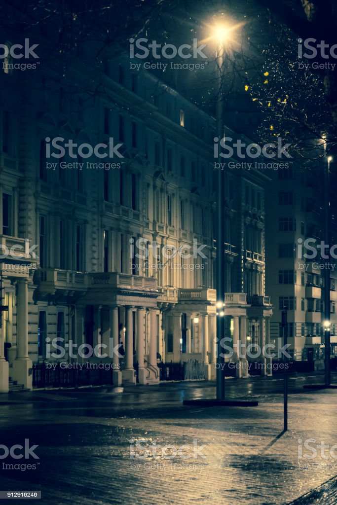 Street at night in rain, Exhibition Road, South Kensington, SW7,...