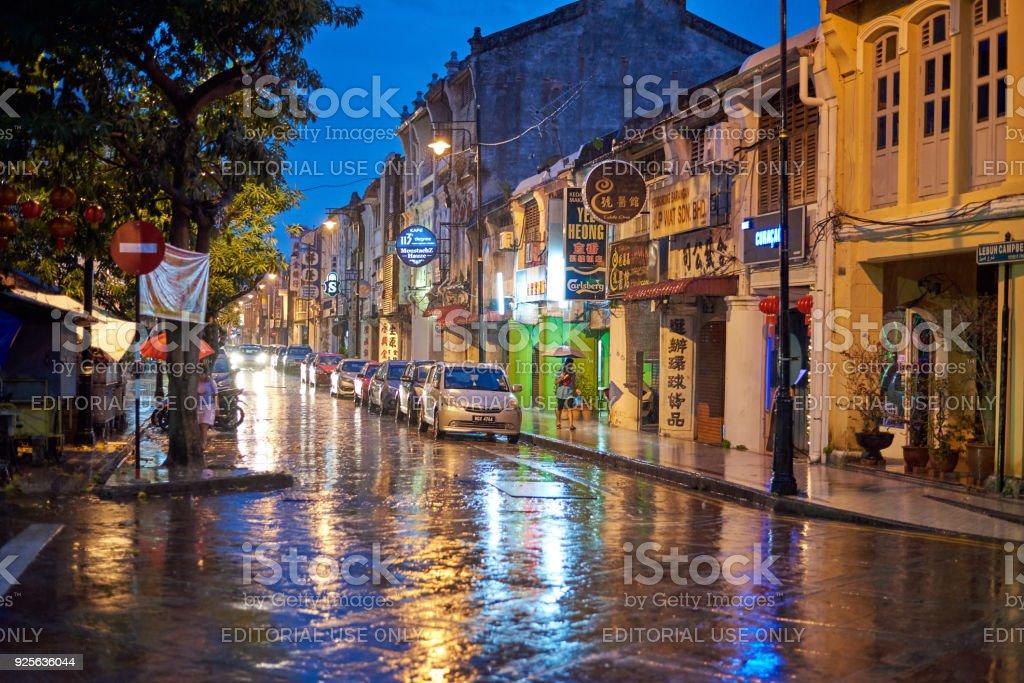 Street at night in the rain