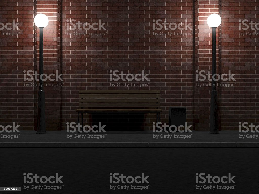 Street at Night with Bench and Street Lamps stock photo