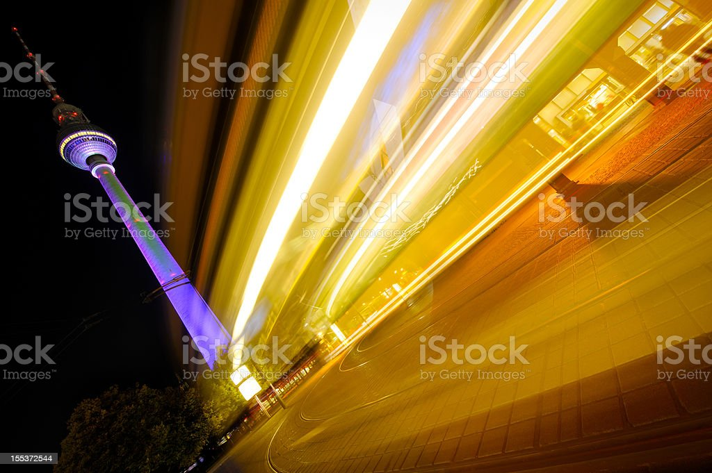 Street at night with traffic, Berlin stock photo