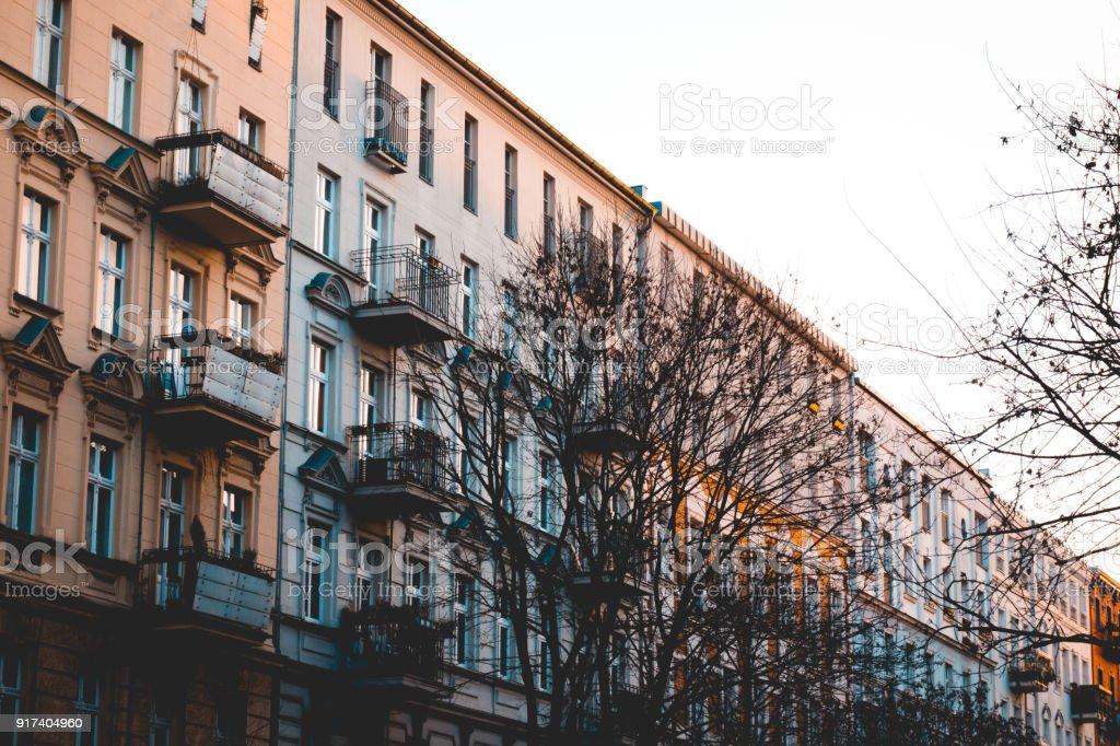 street at prenzlauer berg in autumn stock photo