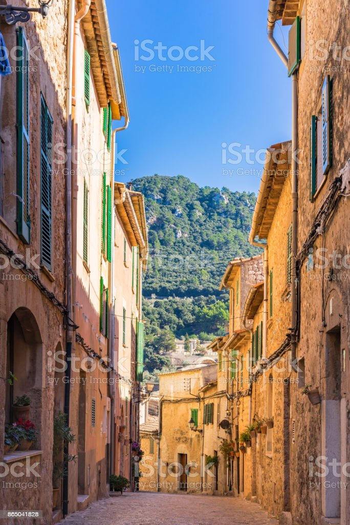 Street at the old village Valldemossa on Mallorca, Spain Balearic Islands stock photo
