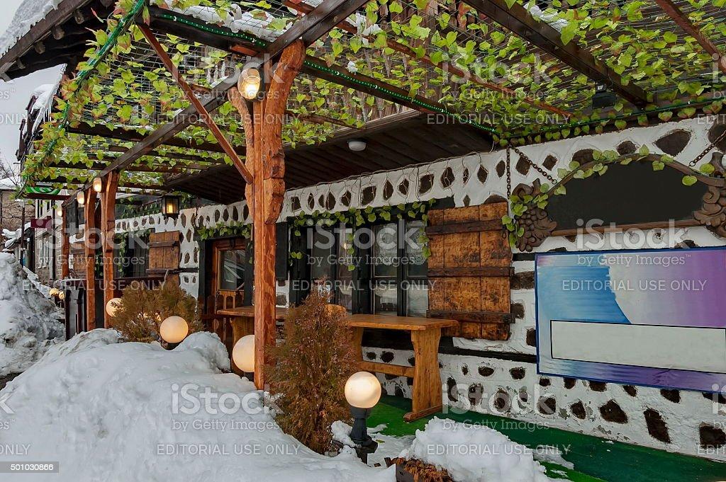 Street at winter in Bansko town stock photo