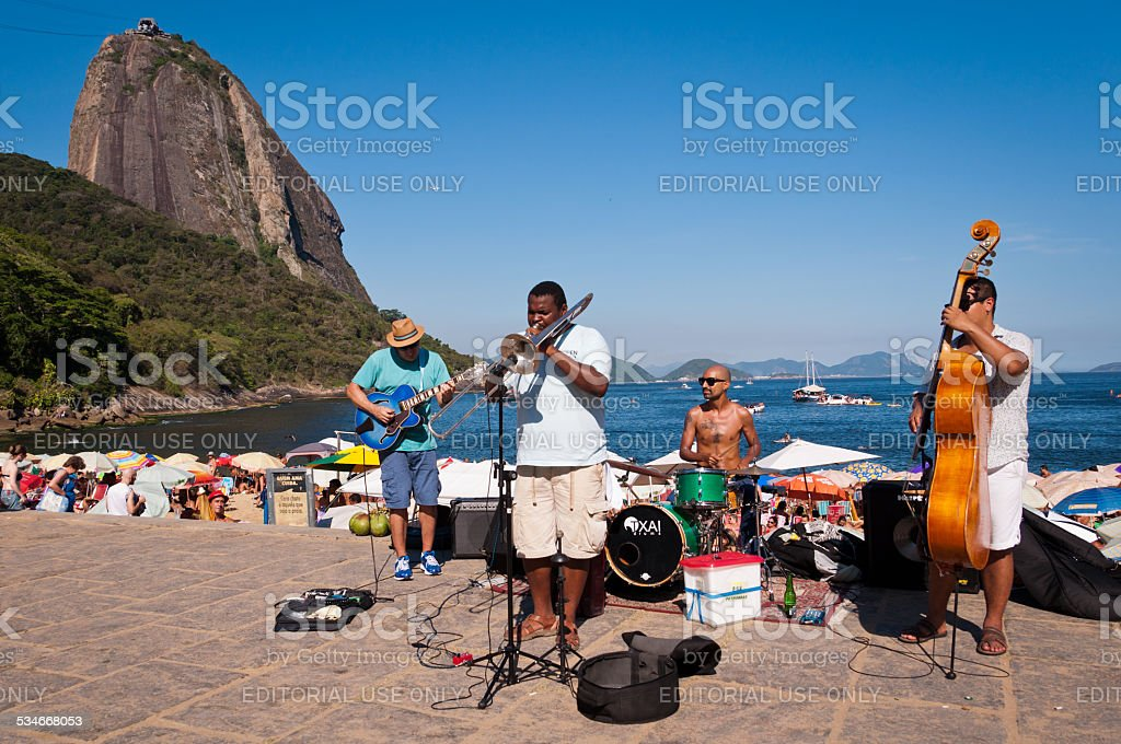 Street Band Concert in a Beautiful Place of Rio stock photo