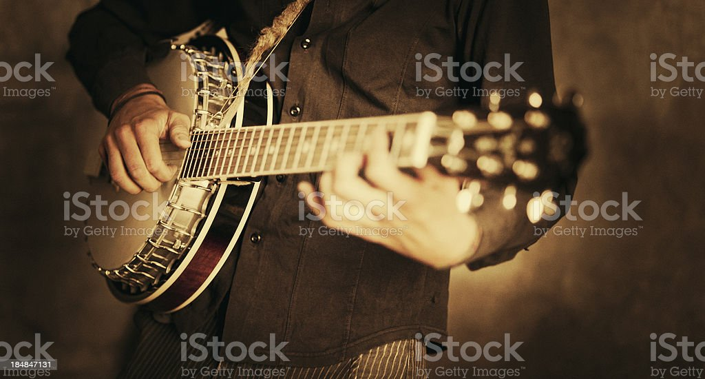 street banjo player stock photo