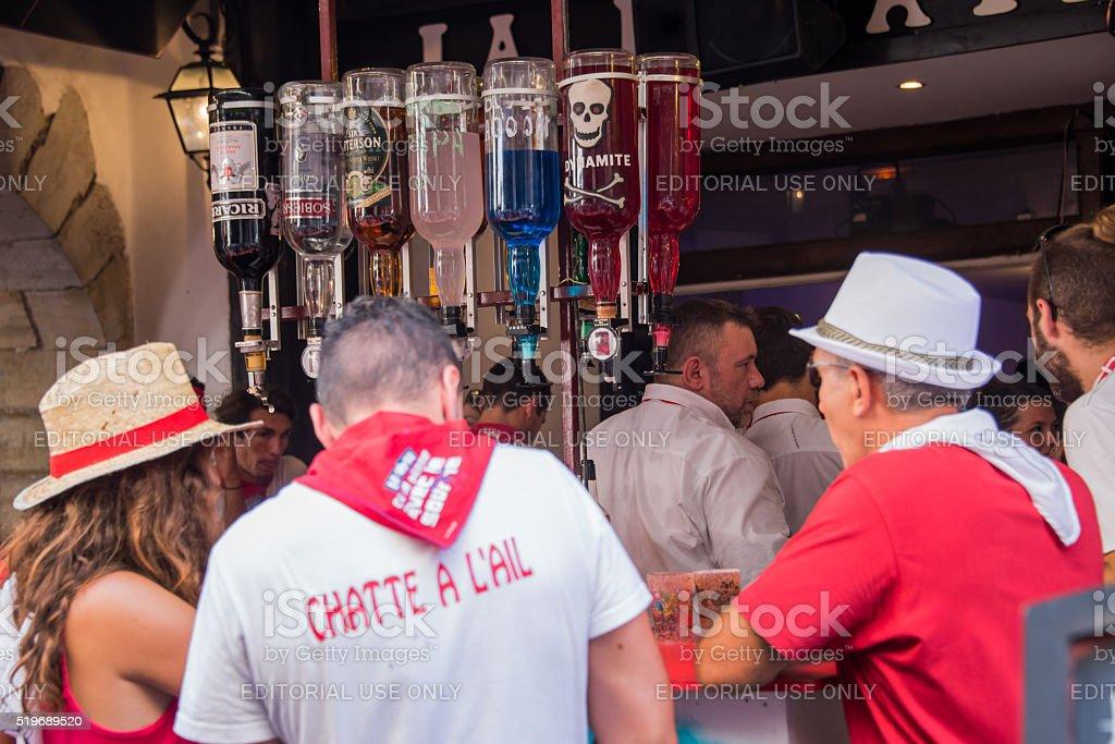 Street bar  at the Summer festival (Fetes de Bayonne) stock photo