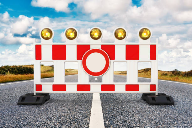 Street barrier Road closed, Street barrier on the road 3D rendering traffic jam stock pictures, royalty-free photos & images