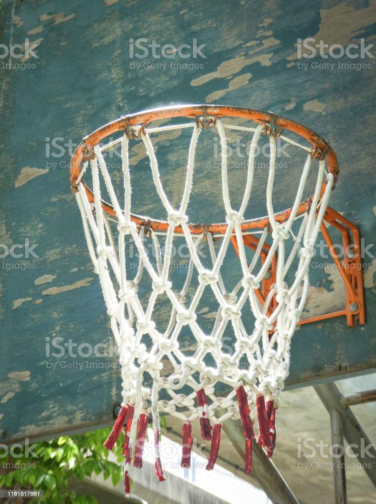 Hoop Dream. Street basketball, Wooden basket hoop , Soft focus filter.