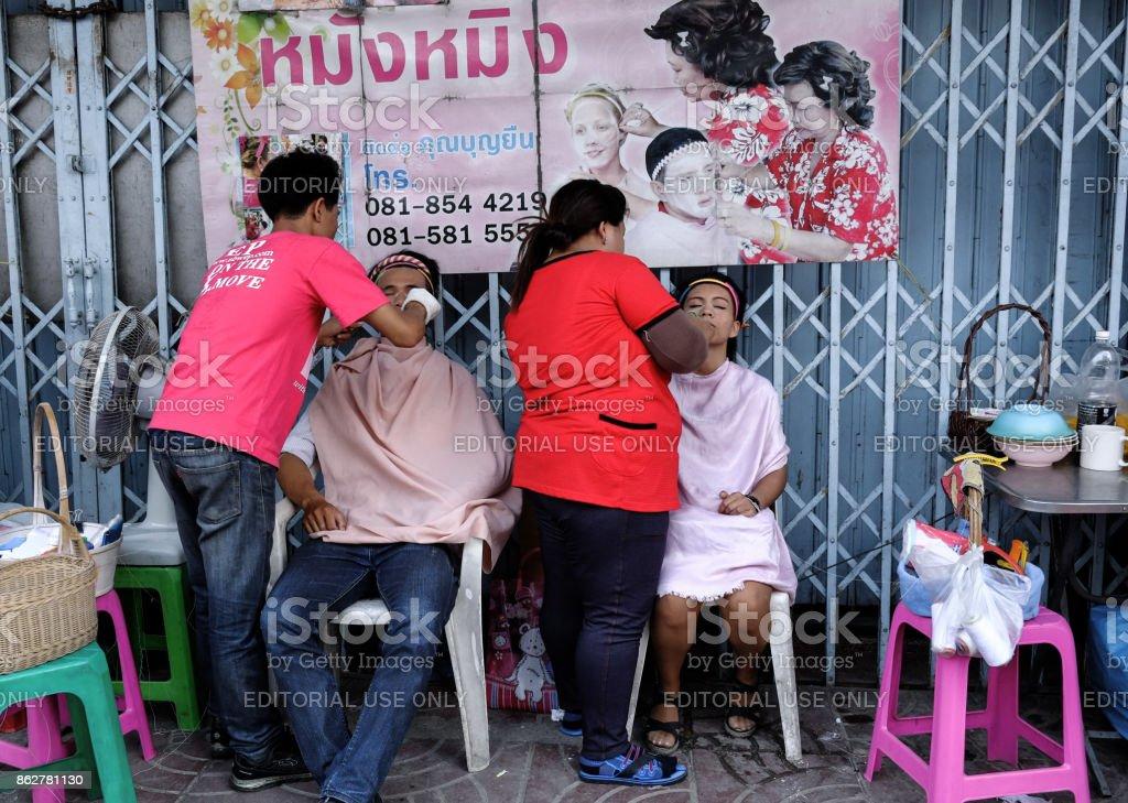 Street Beauticians, Bangkok, Thailand stock photo