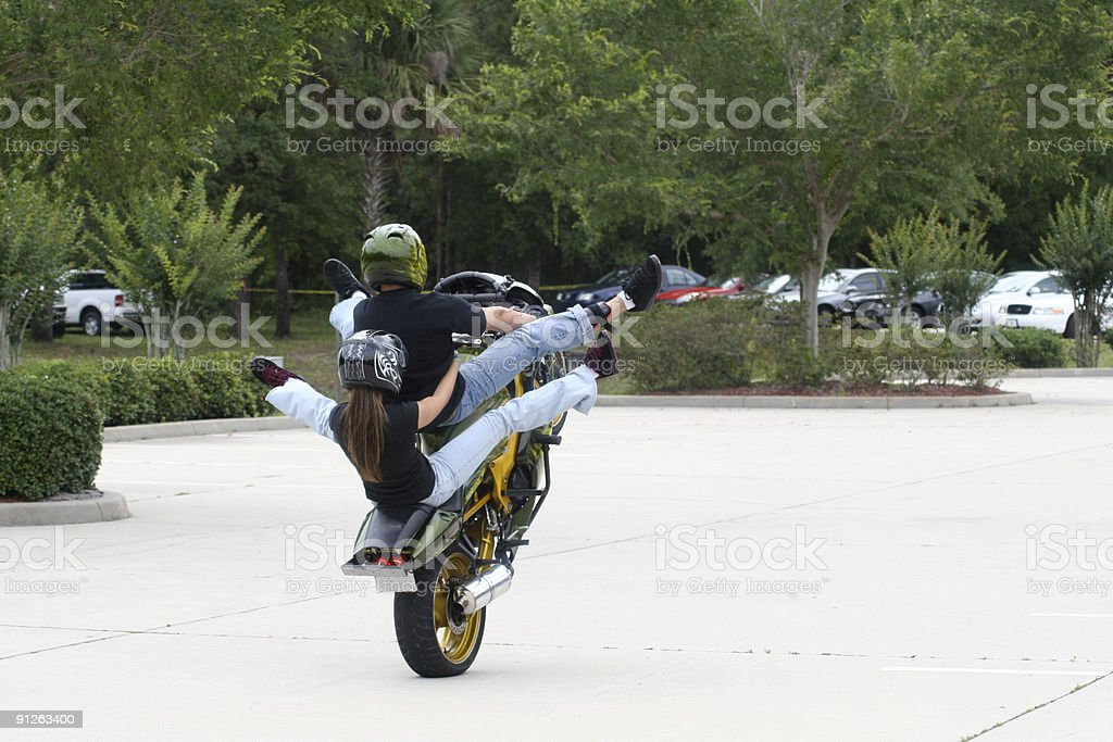 Street Bike Stunt 'Wheelie' royalty-free stock photo