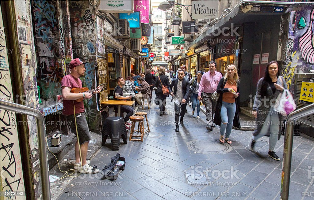 Street Busker - Melbourne stock photo