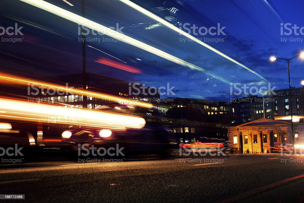 Street by night in city of London royalty-free stock photo