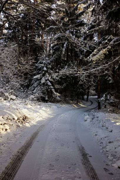 street  by snow stock photo