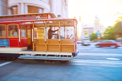 Street cable car driving in the San Francisco's street, San Francisco, USA.