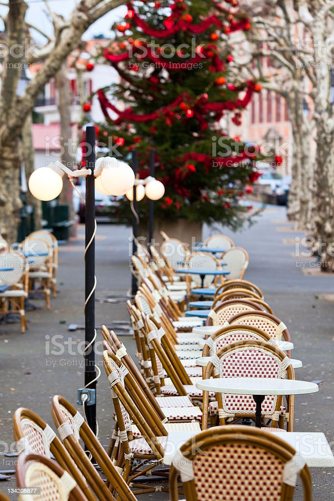 Street cafe at Christmas royalty-free stock photo