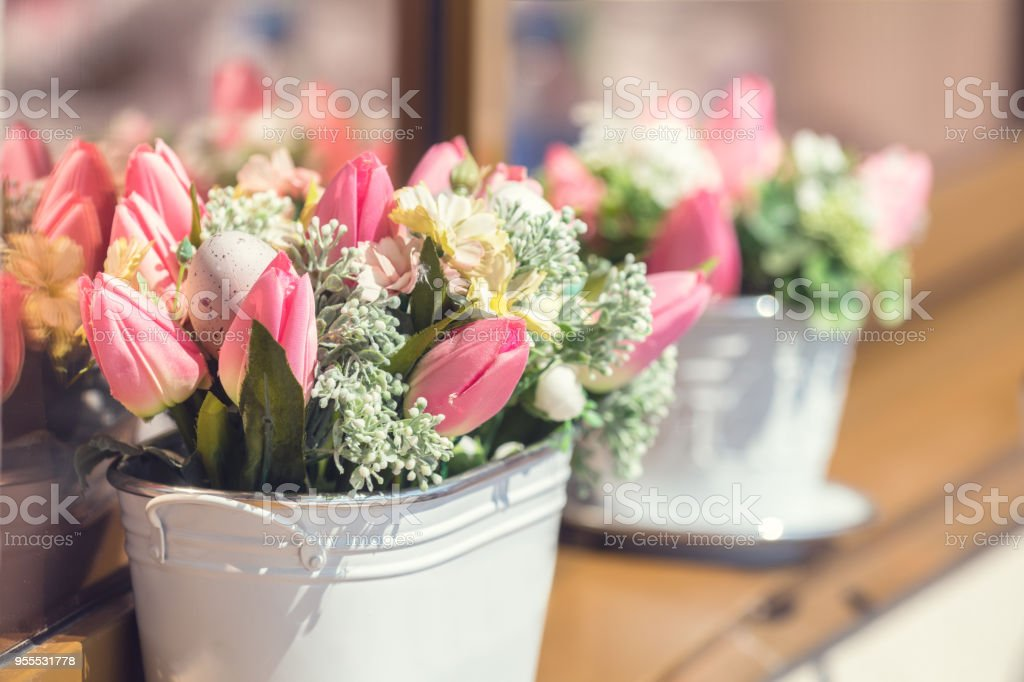 Street cafe flowers and herbs decor concept stock photo