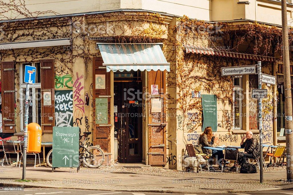 street cafe in berlin prenzlauer berg stock photo more. Black Bedroom Furniture Sets. Home Design Ideas