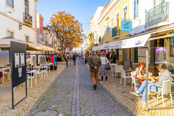 street cafe in lagos old town, portugal. - esplanada portugal imagens e fotografias de stock