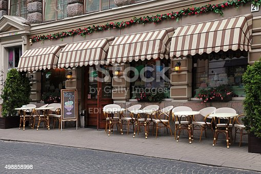 istock Street cafe in Old Town in Vilnius, Lithuania. 498858998