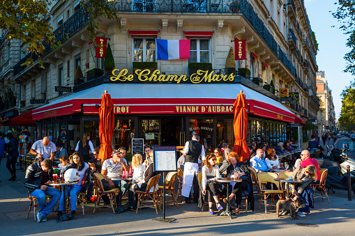 Street Cafe In Paris France Stock Photo - Download Image Now