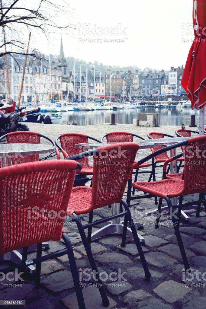 street cafe in the famous French city Honfleur stock photo