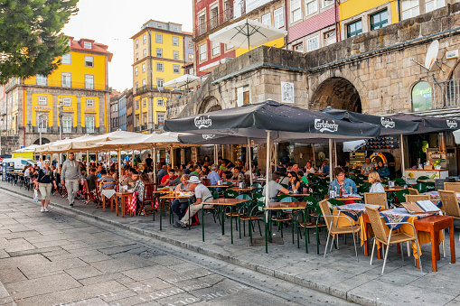 Street cafes and restaurants in Ribeira, Porto, Portugal
