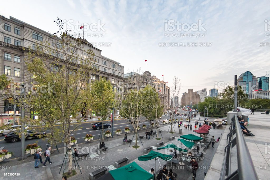 Street cafes on The Bund in Shanghai, China stock photo