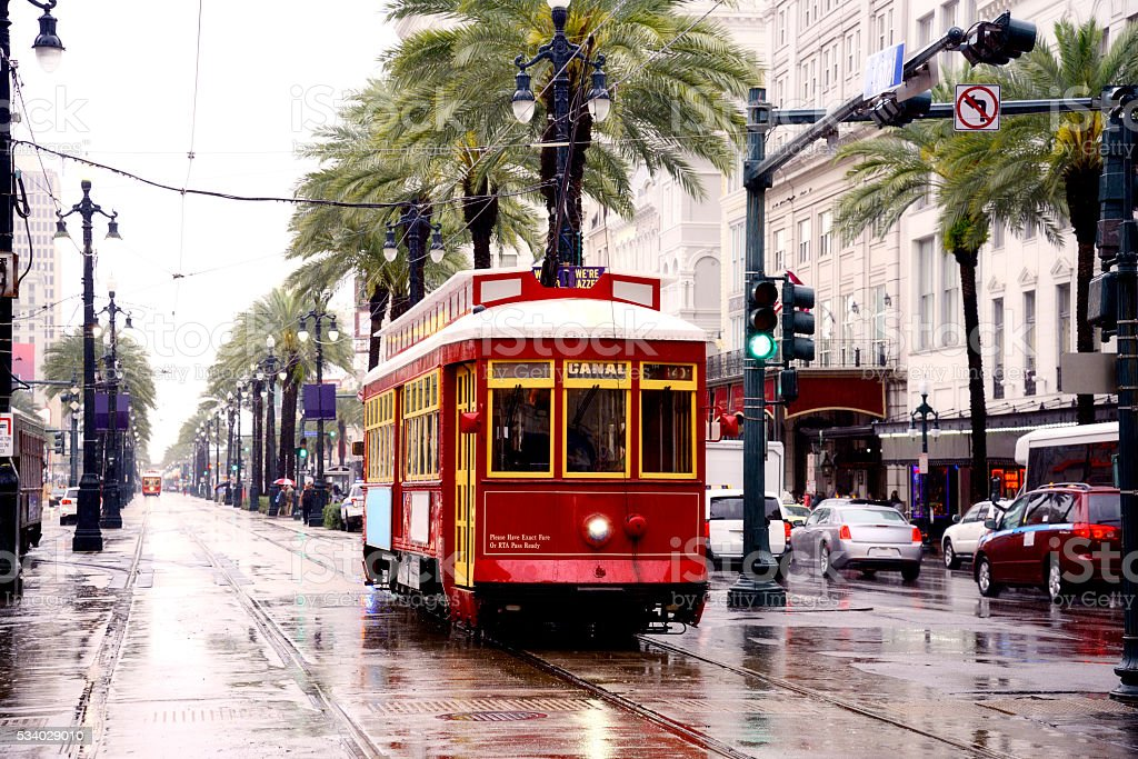 Street Car in a rainy day, New Orleans stock photo