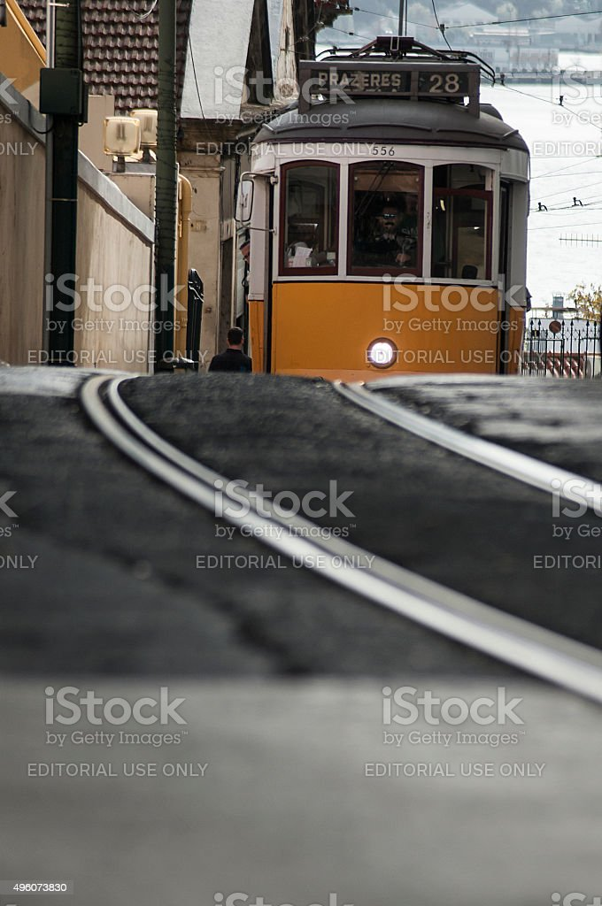 Street Car in Lisbon climbing the street to Chiado. stock photo